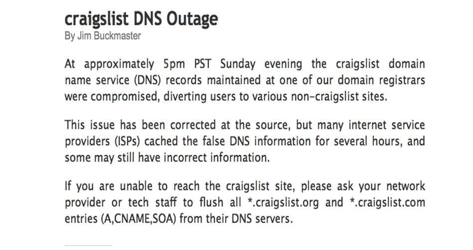 Craigslist-DNS-outage