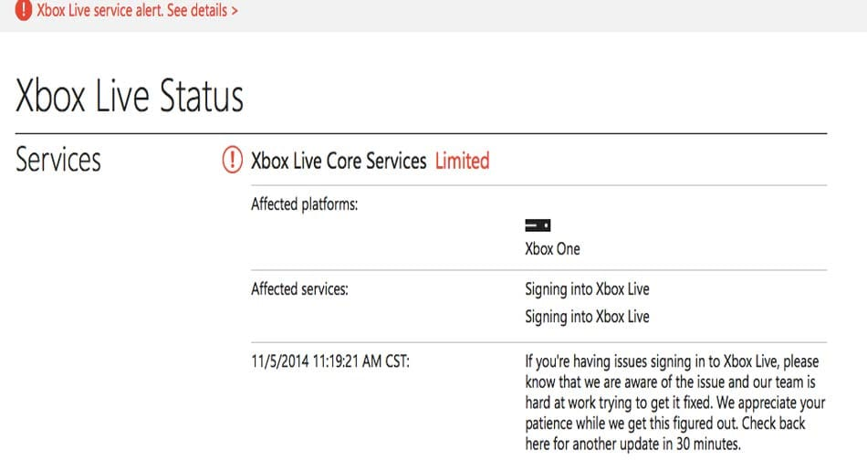 Xbox Live servers take One offline | Down Today