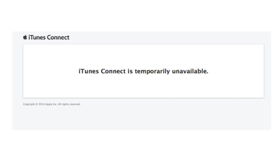 iTunes Connect unavailable