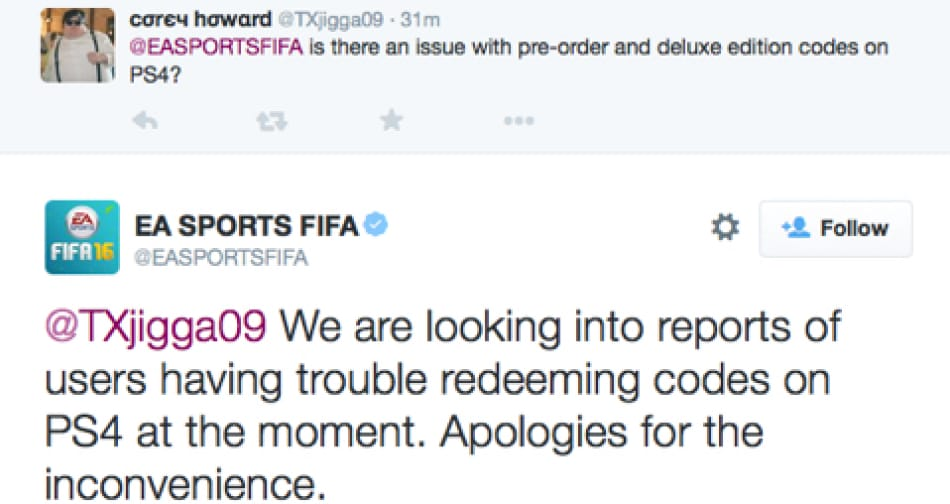 FIFA problems redeeming codes on PS4 on Sept 22